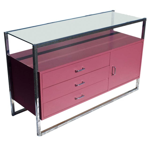 1970s Mid-Century Modern Chrome and Pink Lacquer Bar Cabinet For Sale