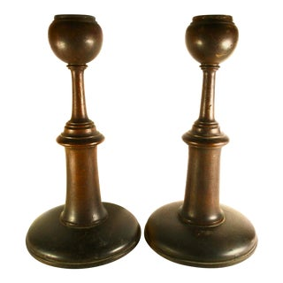 English Arts and Crafts Oak Candlesticks - a Pair For Sale