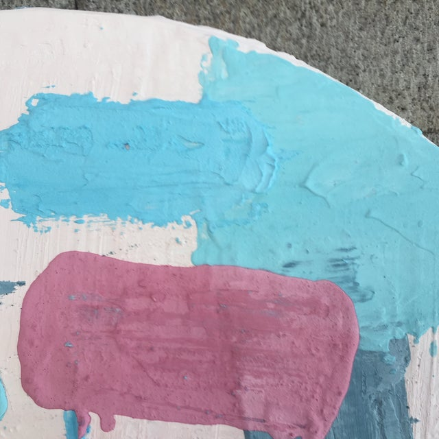 Pink Pine Disc & Plaster Abstract Painting For Sale - Image 8 of 10
