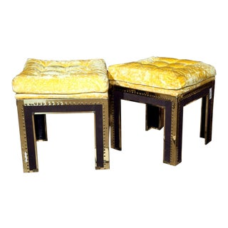 Tufted & Brass Tacked Footstools - A Pair For Sale
