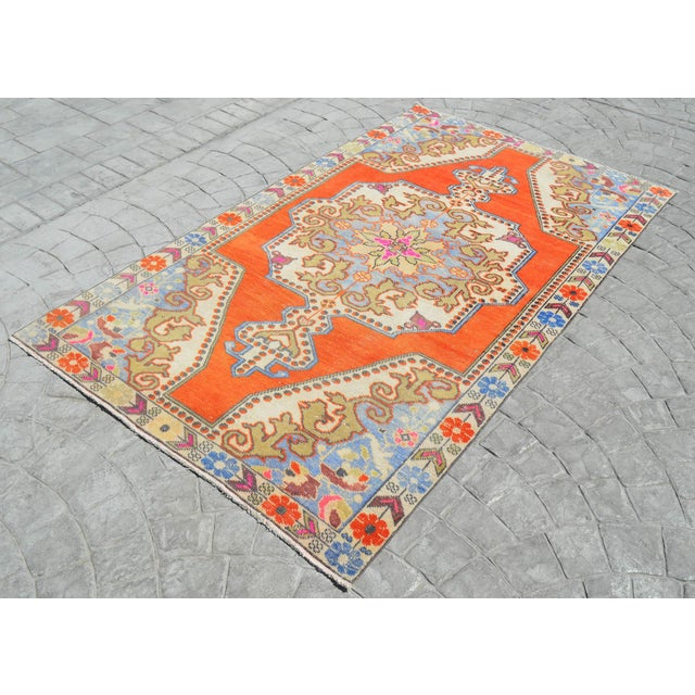 Distressed Area Rug Hand Knotted Colorful Oushak Medallion Rug - 4'4'' X 7'3'' For Sale - Image 4 of 12