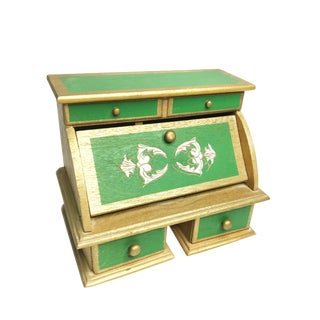 Vintage Mid Century Footed Wooden Florentine Jewelry Box For Sale