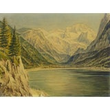 Image of 1950 Vintage Original Watercolor, Majesty's Point For Sale