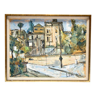 1970 City Scene Oil on Board Painting by Quebec Artist Alain Lacaze For Sale