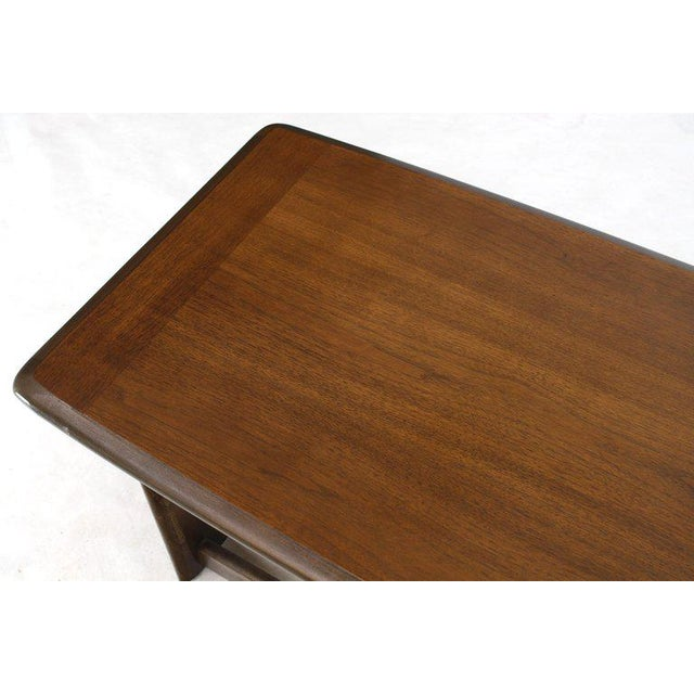 Lane Rounded Rectangle Shape Two-Tier Walnut Coffee Table For Sale - Image 10 of 11