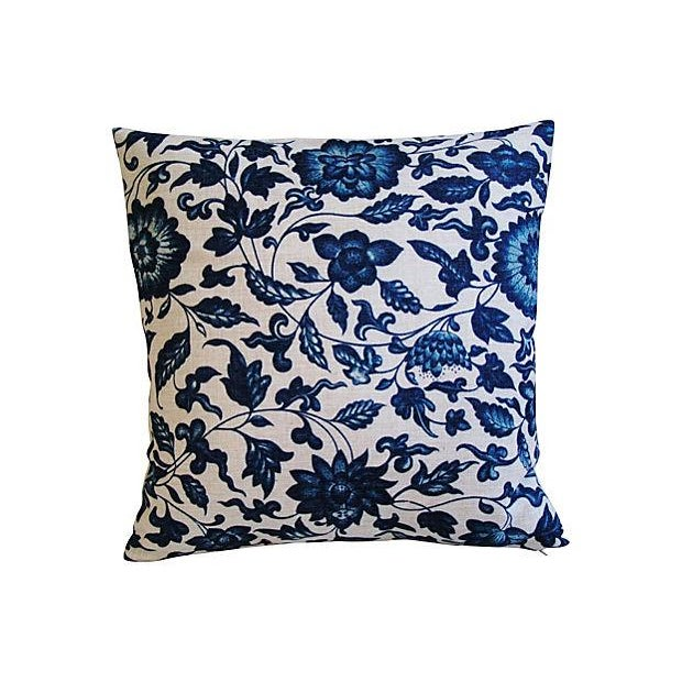 Indigo & White Down & Feather Pillows - A Pair For Sale In Los Angeles - Image 6 of 7