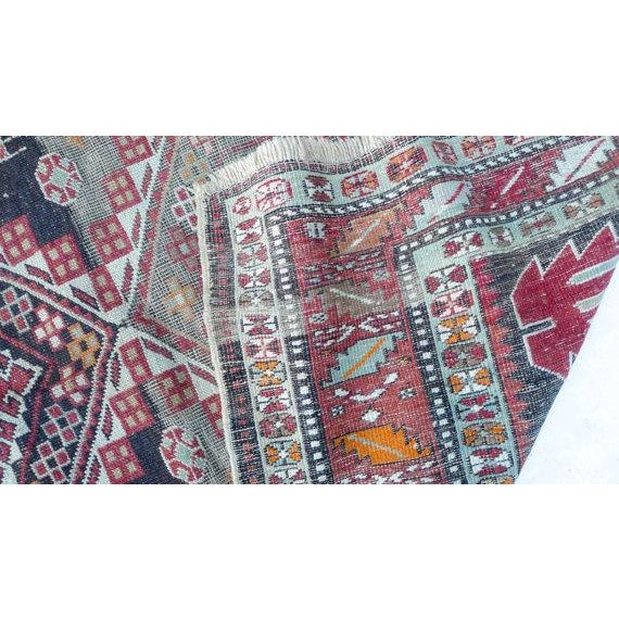 Antique Worn Geometric Tribal Rug - 3′6″ × 5′10″ - Image 5 of 6