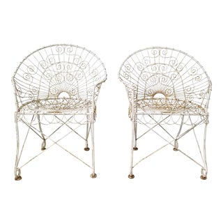 Vintage Wrought Iron Out Door Accent Chairs - a Pair For Sale