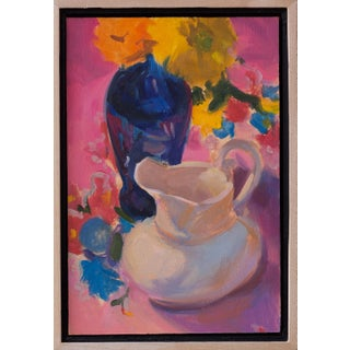 """Come on Get Happy"" Contemporary Abstract Still Life Oil Painting, Framed For Sale"