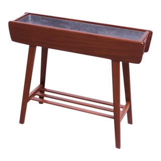 Danish Modern Rosewood Planter With Metal Insert For Sale