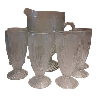 Mid 20th Century Iris Embossed Glass Pitcher & Glasses - Set of 9 For Sale