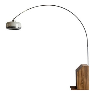 1970s Chrome, Laminate and Walnut Arc Lamp For Sale