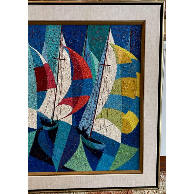 1970s 1970s Vintage Camú Spinnakers Original Signed Oil Painting For Sale - Image 5 of 7