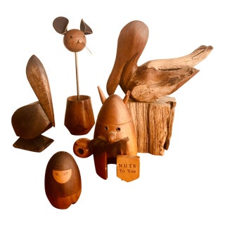Mid Century Menagerie of Danish Teak Accent Figures For Sale