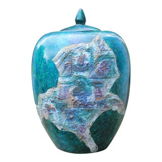 Faux Stone Teal Ginger Jar For Sale