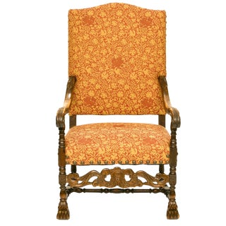 19th Century Vintage Louis XIII Style Walnut Armchair For Sale