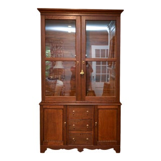 Antique American Shaker Style Step Back Cupboard China Cabinet For Sale