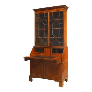 English Sheraton Mahogany Secretary For Sale
