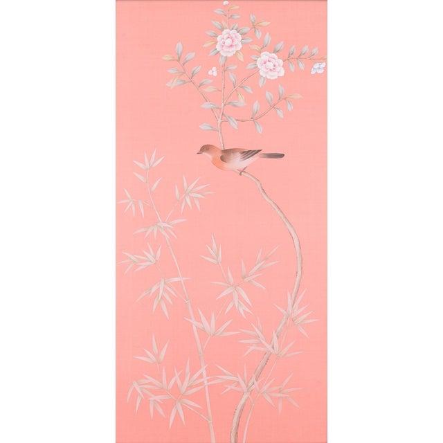 "Asian Simon Paul Scott for Jardins en Fleur ""Luton House"" Chinoiserie Hand-Painted Silk Diptych - a Pair For Sale - Image 3 of 5"