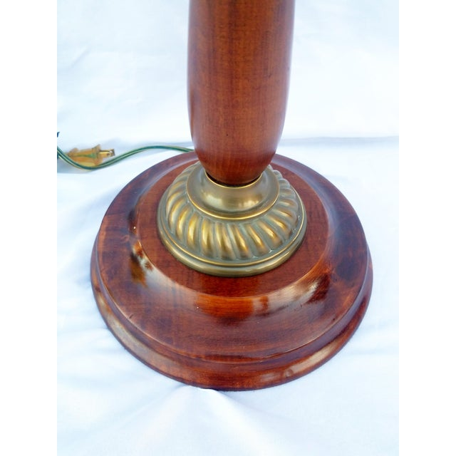 English Traditional Vintage Mahogany & Brass Floor Lamp For Sale - Image 3 of 8