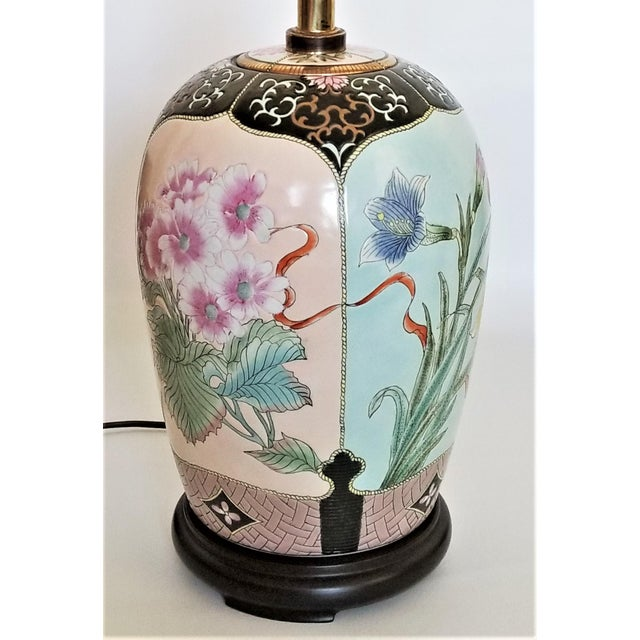 Large Famille Rose Noire Porcelain Chinese Table Lamp Flowers and Leaves For Sale - Image 4 of 13