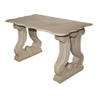 Antique Carved White Marble Console Table From France, 19th Century For Sale