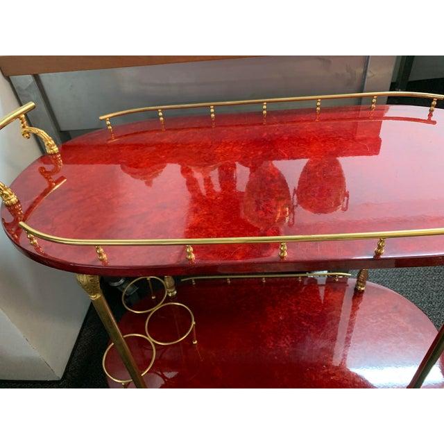 1950's Goatskin Red Aldo Tura Bar Trolley Cart For Sale - Image 11 of 13
