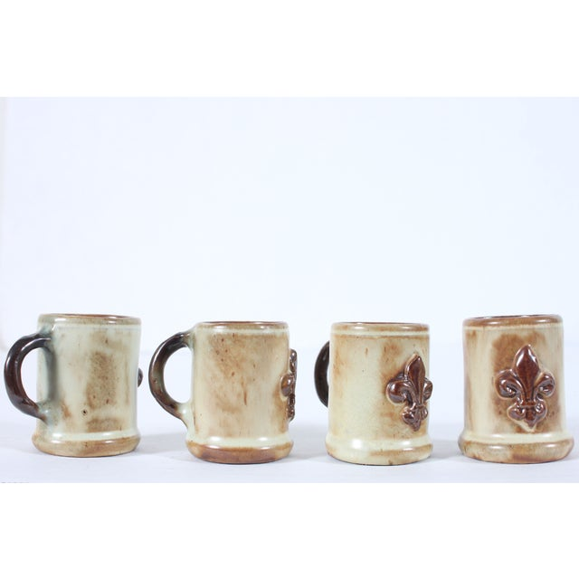 Arts & Crafts Geurin Belgium Pottery Expresso Mugs- Set of 4 For Sale - Image 3 of 4