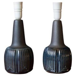 Vintage Pair of Danish Blue Ceramic Lamps by Einar Johansen for Søholm Stentøj For Sale