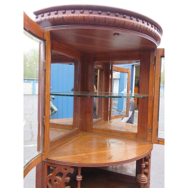 Rare Companion Pair of Oak Carved Corner Cabinets For Sale In Philadelphia - Image 6 of 8