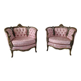 French Provincial Tufted and Hand Carved Pink Damask Accent Chairs - a Pair