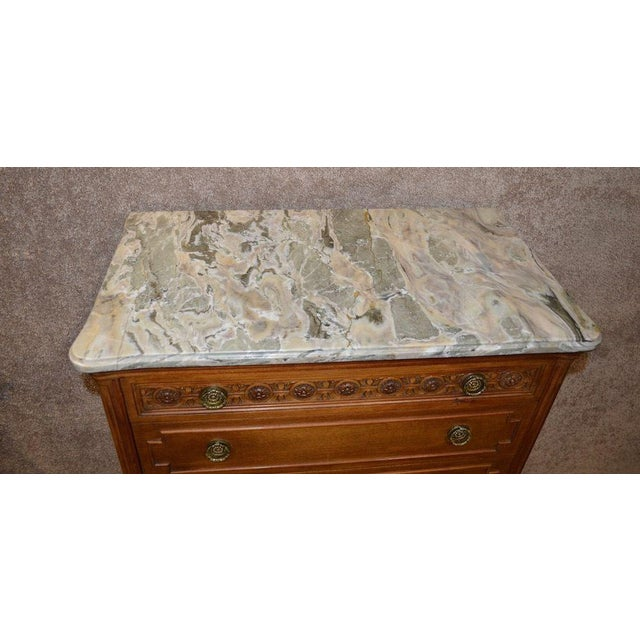 Green French Style Seven Drawer Marble Top Lingerie Chest For Sale - Image 8 of 13