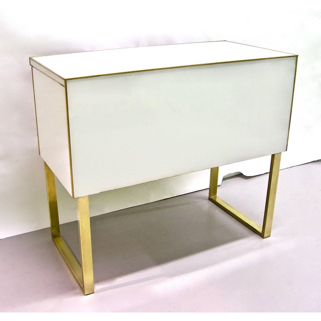 1990s Italian White Black and Gold Chest Sideboard on Brass Legs For Sale - Image 9 of 10