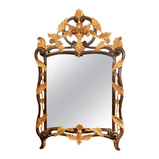 French Regency Antique Mirror of Mahogany and Gilt with Basket of Roses Design For Sale