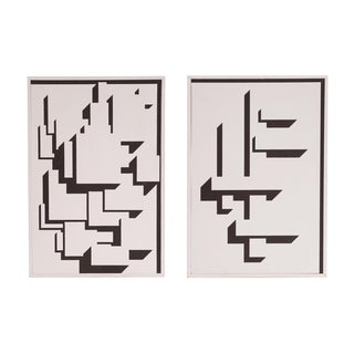 Patrick Mather Hard-Edge Black and White Acrylic Painting, Pair For Sale