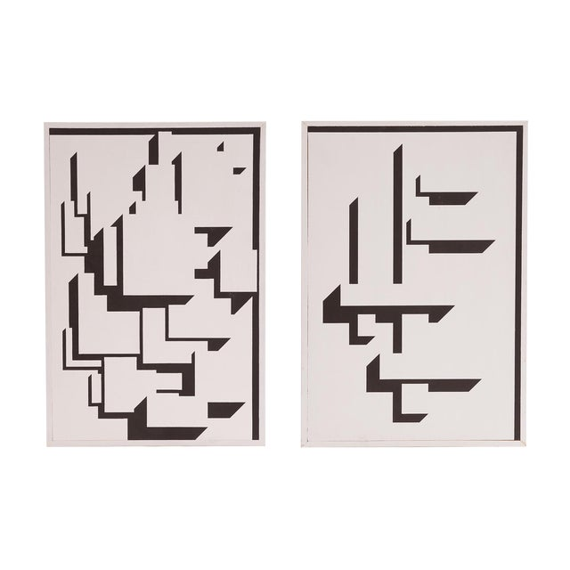 Patrick Mather Hard-Edge Black and White Acrylic Paintings - a Pair For Sale