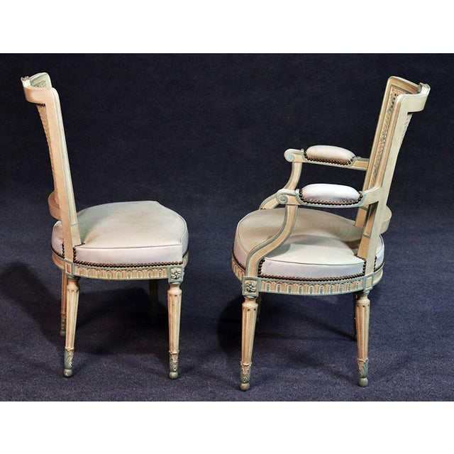 Set of 8 French Louis XVI Style Caned Back Dining Chairs For Sale - Image 9 of 13