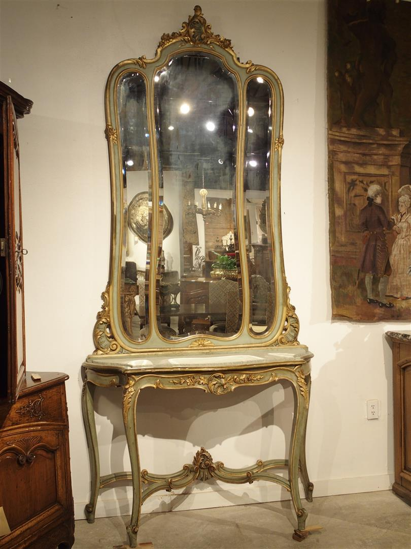 painted console table. Antique Painted Console Table And Mirror From Italy, Circa 1880 - Image 11 Of Y