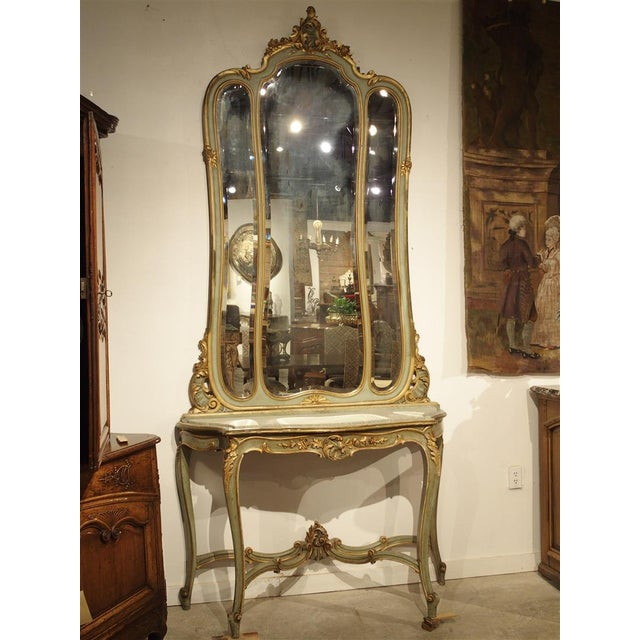 Antique Painted Console Table and Mirror from Italy, Circa 1880 For Sale - Image 11 of 11