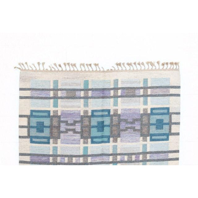 Blue Scandinavian Modern Judith Johansson Tapestry Rug - 4'5'' X 6'8'' For Sale - Image 8 of 11