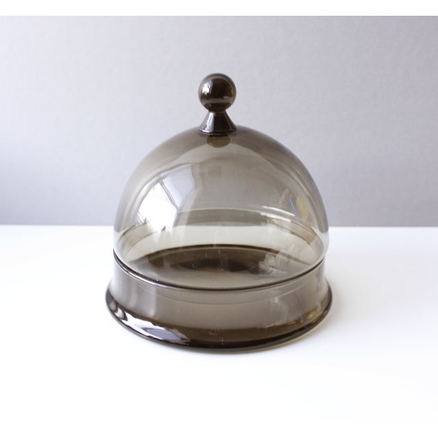 Italian Mid Century Colony Smoke Glass Cheese Dome For Sale - Image 3 of 6