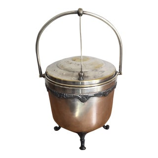 1940s Traditional Silver Plated Ice Bucket with Mercury Glass Liner For Sale
