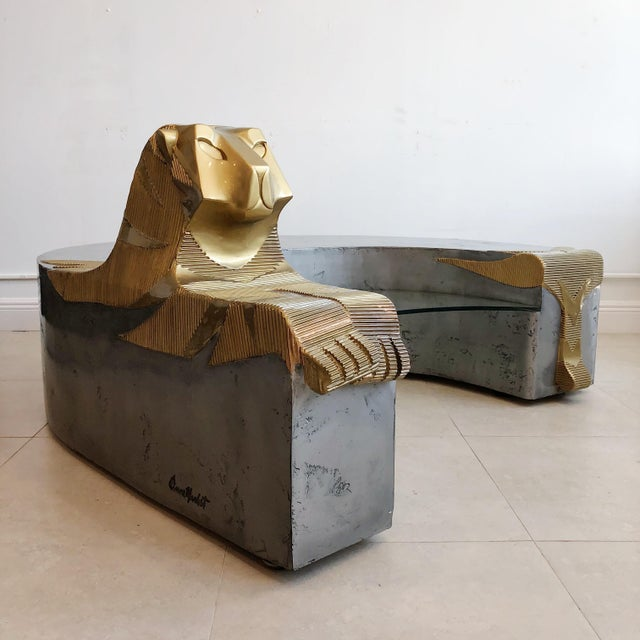Vintage Sculptural Tiger Large Oversized Bench Coffee Table by Anne Herbst (1923-2007) For Sale - Image 4 of 11