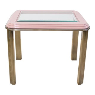Pink & Chrome Side Table | Vintage Dia Memphis Style For Sale
