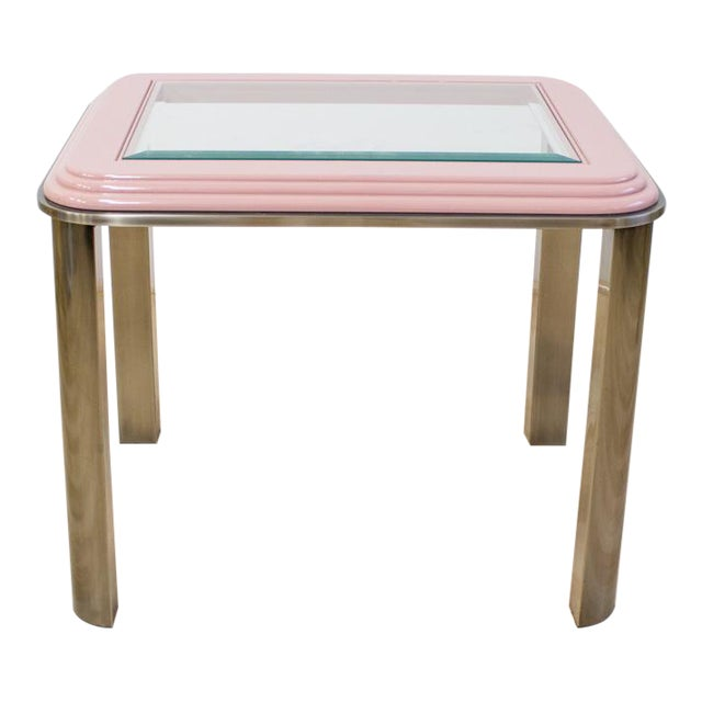 Vintage DIA Memphis Style Pink & Chrome Side Table For Sale