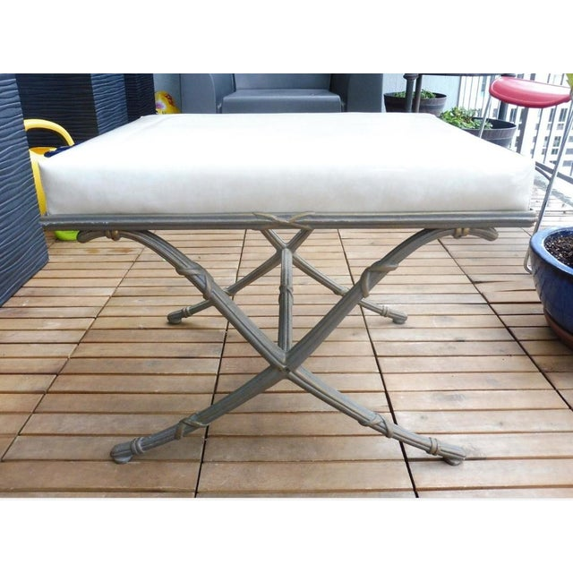 1970's Saber Leg Faux Bamboo Aluminum Bench For Sale In Miami - Image 6 of 10