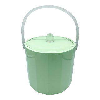 Vintage Georges Briard Mint Green Ice Bucket With Frosted Lucite Handle and Finial For Sale