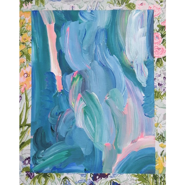 """Frances Sousa """"Get Ready for the Flood"""" Contemporary Abstract Floral Acrylic Painting on Vintage Textile For Sale"""