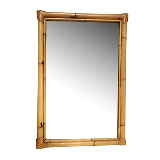 Two-Strand Rectangle Rattan Mirror W/ Stick Rattan Border For Sale