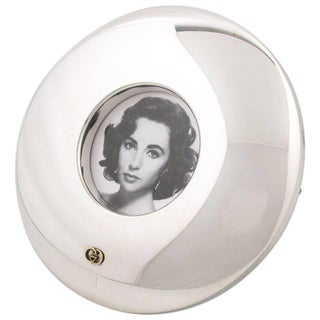 Italian Gucci Silver Plate Large Round Picture Photo Frame